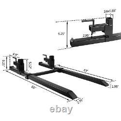 2000lbs Clamp on Pallet Forks Adjustable Stabilizer Bar for Loader Skid Steer