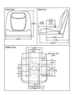 Black HIGH BACK SEAT with ARM REST & SLIDE TRACK KIT for Case Skid Steer Loader