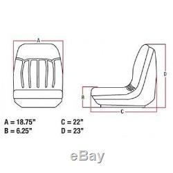 Black Seat w Tracks Fits Bobcat Skid Steer Loader 751G 753 753C 753G 753L 763