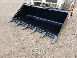 Brand New 60 Tooth Bucket Powder Coated For Skid Steer Loader Free Shipping
