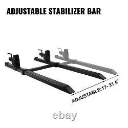 Clamp on Pallet Forks 1500LBS 30 Inch with Adjustable Stabilizer Bar for Loader