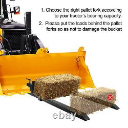 Clamp on Pallet Forks Loader Bucket 2000 lbs Capacity 43 Loader Bucket Tractor