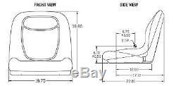 Grey HIGH BACK SEAT with Slide Track Kit for Case Skid Steer Loader Made in USA