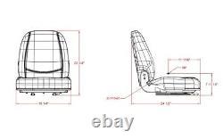 High Back Black Seat For Forklift, Skid Loader, Backhoe, Dozer, Telehandler #wl