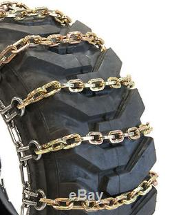 Titan Chain Skid Steer / Loader Square 2-Link Spacing Tire Chains fits 12X16.5