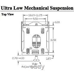 Universal Low Profile Seat Suspension for ZTR Zero Turn Mowers Skid Steer Loader