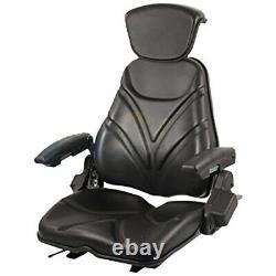 Universal Vinyl Black Seat For Riding Mower Tractor Skid Steer Loader Backhoe