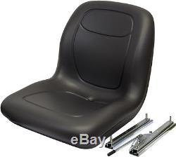 Black High Back Seat Avec Slide Track Kit Pour Case Skid Steer Loader Made In USA