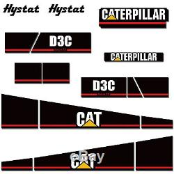 Caterpillar Decal Kit Graphique Cat Série Sur Chenilles D3c 3 III Autocollants Tracteur