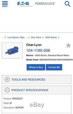 Char-lynn / Eaton Mod # 104-1195-006 Hyd Disc Valve Moteur. Tout Neuf Dans La Boîte Usine
